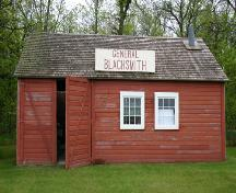 View of the north elevation of the Warkentin Blacksmith Shop, St. Francois-Xavier, 2004; Historic Resources Branch, Manitoba Culture, Heritage, Tourism and Sport, 2004