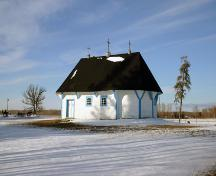 Primary elevation, from the south, of St. Elias Ukrainian Orthodox Church and Bell Tower, Sirko, 2006; Historic Resources Branch, Manitoba Culture, Heritage, Tourism and Sport, 2006