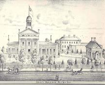 East elevation of the Court House showing the jail (demolished) and Registry Office; Historical Atlas of Ontario County, J.H. Beers and Co., Toronto, 1877
