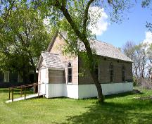 Primary elevations, from the southeast, of Archibald United Church, La Rivière area, 2006; Historic Resources Branch, Manitoba Culture, Heritage, Tourism and Sport, 2006