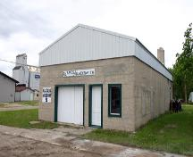 Primary elevations, from the northeast, of the Amos Blacksmith Shop, Waskada, 2007; Historic Resources Branch, Manitoba Culture, Heritage, Tourism and Sport, 2007