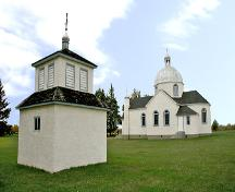 Contextual view, from the southeast, of the New St. Elias Ukrainian Orthodox Church and Bell Tower, Sundown area, 2007; Historic Resources Branch, Manitoba Culture, Heritage, Tourism and Sport, 2007