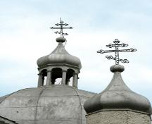 Detail of banyas (domes) of the New St. Elias Ukrainian Orthodox Church, Sundown area, 2007; Historic Resources Branch, Manitoba Culture, Heritage, Tourism and Sport, 2007
