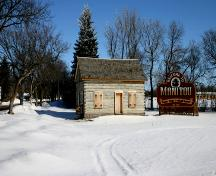 View, looking north, of the Log Cabin, Manitou, 2005; Historic Resources Branch, Manitoba Culture, Heritage, Tourism and Sport, 2005