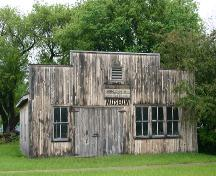View of the main elevation of the Blacksmith Shop, Cartwright, 2005; Historic Resources Branch, Manitoba Culture, Heritage, Tourism and Sport, 2005