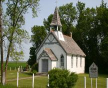 Main facade of St. Paul's Anglican Church, Baie St. Paul, 2004; Historic Resources Branch, Manitoba Culture, Heritage, Tourism and Sport, 2004