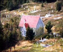 Aerial view of Mortuary Chapel, Trinity, Newfoundland; HFNL 2005