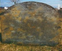 Oldest headstone, dated 1783 found in the Old Port Medway Cemetery, Port Medway, NS, 2000. The stone is in memory of Samuel Mack, a loyalist from Connecticut.; Port Medway Cemetery Committee 2000