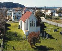 Arial view of rear facade, St. Luke's Anglican Church, Placentia, NL.; Heritage Foundation of Newfoundland and Labrador, 2005