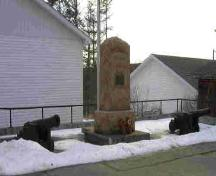 The two Fort Hill Cannons beside the cenotaph, at the Royal Canadian Legion, Branch #40 ; St. George