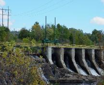 View of the hydroelectric structure and fishway at the falls; Town of St. Stephen