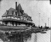 Photo of McAdam Railway Station circa 1905 taken before extensions; McAdam Historical Restoration Committee