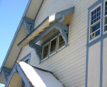 Detail of window shed and bracket, of the Manitou Town Hall, Manitou, 2005; Historic Resources Branch, Manitoba Culture, Heritage, Tourism and Sport, 2005