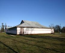 View of the main, south, elevation of the Gimli Dance Pavilion, Gimli, 2004; Historic Resources Branch, Manitoba Culture, Heritage, Tourism and Sport, 2005
