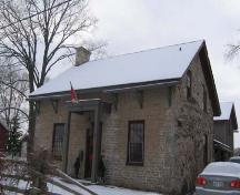 Northwest view of the home depicting the fieldstone cladding on the west elevation, 2007.; Lindsay Benjamin, 2007.