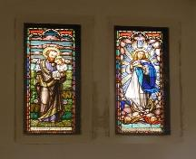 Interior view of stained glass window in former chapel, 5355 Russell Street, Halifax, NS, 2008.; Halifax Regional Municipality, Heritage Property Program.