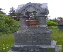 Monumental gravestone illustrating both red and black granite; Town of St. George