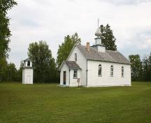 Primary elevations, from the southwest, of St. Michael's Ukrainian Catholic Church, North Foley, 2005; Historic Resources Branch, Manitoba Culture, Heritage, Tourism and Sport, 2005