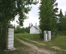 Contextual view, from the southwest, of St. Michael's Ukrainian Catholic Church, North Foley, 2005; Historic Resources Branch, Manitoba Culture, Heritage, Tourism and Sport, 2005