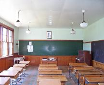Interior view of Eunola School, Tilston area, 2006; Historic Resources Branch, Manitoba Culture, Heritage, Tourism and Sport, 2006