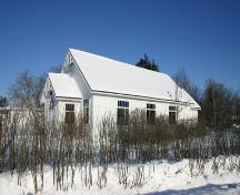 View from the south of the main elevations of Arborg Unitarian Church, Arborg, 2005; Historic Resources Branch, Manitoba Culture, Heritage, Tourism and Sport, 2005
