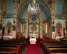 View of nave and sanctuary of the Historic Ukrainian Catholic Church of the Resurrection, Dauphin, 2005; Historic Resources Branch, Manitoba Culture, Heritage, Tourism and Sport, 2005