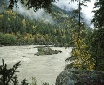 General view of Kitselas Canyon, showing the Skeena River.; Parks Canada Agency / Agence Parcs Canada.