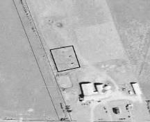 Aerial view of cemetery location defined by square; Province of PEI