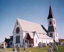 Exterior photo, main facade, St. Paul's Anglican Church, Trinity, Newfoundland.; Heritage Foundation of Newfoundland and Labrador 2005