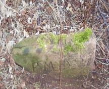 Showing example of carved sandstone marker; PEI Genealogical Society, 2006