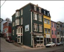 Exterior view of side and front facade of the Tobin Building, 214 Duckworth Street, St. John's, NL.; 2005 Heritage Foundation of Newfoundland and Labrador