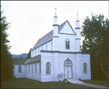 View of main facade of Precious Blood Church and Bell House, St. Andrew's, NL.; Heritage Foundation of Newfoundland and Labrador 2005