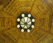 Of note is the central point where each octagonal edge of the roof meets on the roof interior.; Kayla Jonas, 2007.