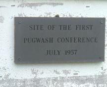 First Pugwash Conference Plaque, Acadia Lodge, Pugwash, NS, 2007.; Heritage Division, NS Dept. of Tourism, Culture and Heritage, 2007