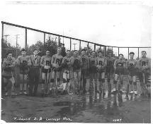 Exterior view of the Brighouse Lacrosse Box with Richmond Senior B Lacrosse Team, 1947; Richmond Archives Photograph No. 1977 7 9.