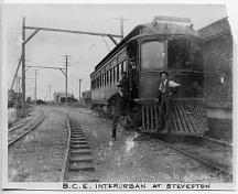 View of the Interurban Railway tram at Steveston station, c.1918; Richmond Archives photo no. 1984 17 3