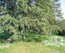 Partial view of cemetery and grave markers, 2004.; Government of Saskatchewan, Jennifer Bisson, 2004.