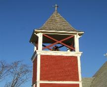 Detail view of the bell tower of the Church of Good Shepherd, Tidnish Cross Roads, NS, 2009.; Heritage Division, NS Dept of Tourism, Culture and Heritage, 2009