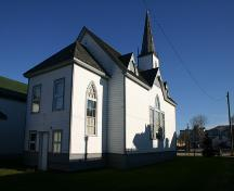 View, from the southwest, of the south and west elevations of Gimli Unitarian Church, Gimli, 2005; Historic Resources Branch, Manitoba Culture, Heritage, Tourism and Sport, 2005