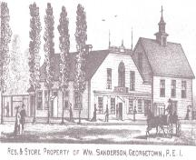 Engraving of Sanderson / Easton Store; Meacham's Illustrated Historical Atlas of PEI, 1880