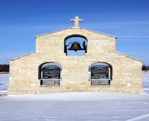 Primary elevation, from the south, of the Bell Tower of the Ukrainian Catholic Church of St. Michael the Archangel, Tyndall, 2005; Historic Resources Branch, Manitoba Culture, Heritage, Tourism and Sport, 2005