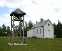 Contextual view, from the northwest, of St. Mary's Ukrainian Catholic Church, Dnister, 2006; Historic Resources Branch, Manitoba Culture, Heritage, Tourism and Sport, 2006