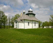 View from the southwest of St. Michael's Ukrainian Greek Orthodox Church, near Gardenton, 2005; Historic Resources Branch, Manitoba Culture, Heritage, Tourism and Sport, 2005