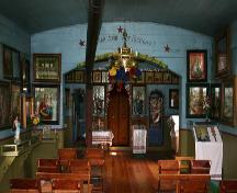View of the narthex and nave of St. Michael's Ukrainian Greek Orthodox Church, near Gardenton, 2005; Historic Resources Branch, Manitoba Culture, Heritage, Tourism and Sport, 2005