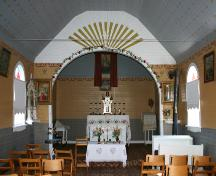 View of the nave to the altar of the Ukrainian Catholic Church of the Blessed Virgin Mary, Malonton area, 2004.; Historic Resources Branch, Manitoba Culture, Heritage, Tourism and Sport, 2005