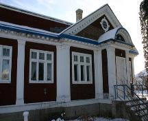 View of the main profile of the Masonic Lodge, Emerson, 2005; Historic Resources Branch, Manitoba Culture, Heritage, Tourism and Sport, 2005
