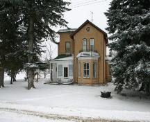 View looking north of the primary elevation of the Bryce House, Emerson 2005; Historic Resources Branch, Manitoba Culture, Heritage, Tourism and Sport, 2005