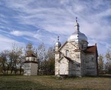 View of church and belfry, 2003.; Government of Saskatchewan, J. Bisson, 2003