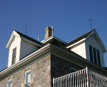 Roof detail, from the southwest, of the Carpentier House, Griswold area, 2005; Historic Resources Branch, Manitoba Culture, Heritage, Tourism and Sport, 2005