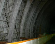 Interior view of the laminated arches of the Poplar Point Memorial Rink, Poplar Point, 2005; Historic Resources Branch, Manitoba Culture, Heritage, Tourism and Sport, 2005